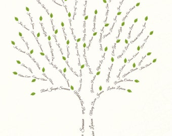 Custom Family Tree - 6 Generation or Descendant Tree (Print Copy)