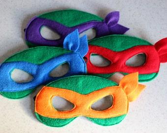 Teenage Mutant Ninja Turtles felt mask - Kids dress up - Children mask - Party favor - Christmas party costume - Pretend play