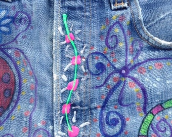 FLOWER POEWR WoW Upcycled Repurpose Levi's  33 x 32 Denim Jean Shorts Hippie Chickie & Kool OOAK Boho Design Flowers Dragon Fly and More!