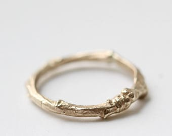 9ct gold twig ring, twig wedding ring, cherry tree ring, nature ring, nature jewellery, woodland jewellery
