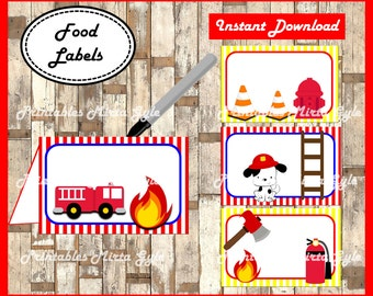 Fireman Food labels, printable Fireman party food tent cards , Fire truck tent cards