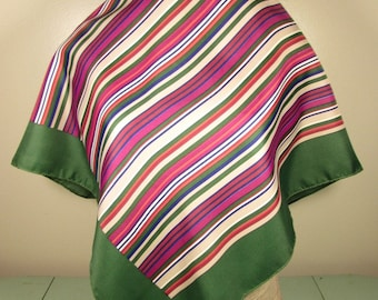 Dark Green Pink Stripe Scarf - Vintage Square