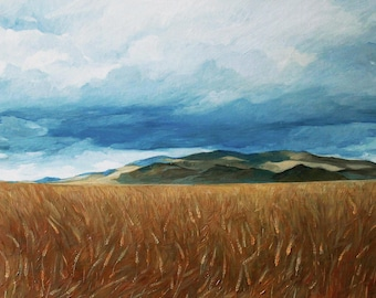 Wheat field painting, realistic landscape, field oil painting on canvas panel, original art.