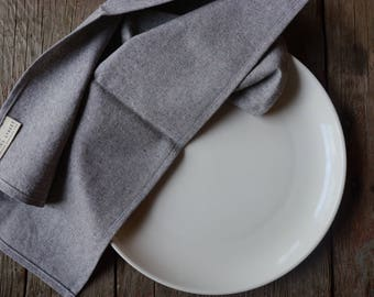 cloth napkins. grey recycled. set of 2. hemp + organic cotton. organic cloth napkins. modern.