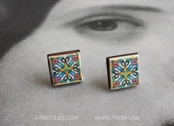 Stud Earrings Tile Post Portugal Azulejo Portuguese Stainless Steel Ilhavo and Aveiro Persian - Ships from USA Gift Box included 397