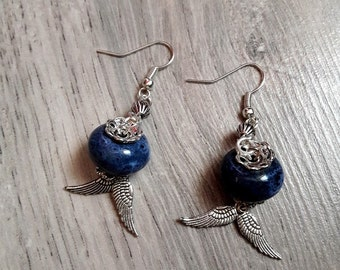 "Earrings dangling ""Joeliah"" - ceramic - wings - Bohemian - boho - wings - Angel-"