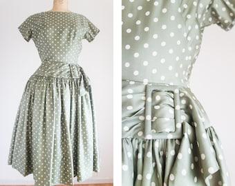 1950s I. Magnin silk green polka dot party dress / vintage / size small medium / Light Isles Dress