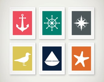 Nautical Art Print Set of 6 - Children's Wall Art - Nursery Art  - Playroom Decor - Nautical Kids - Set of 6