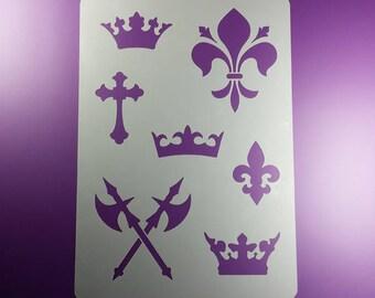 Stencil Crown Fleur de lis cross axe coat of arms-BA54