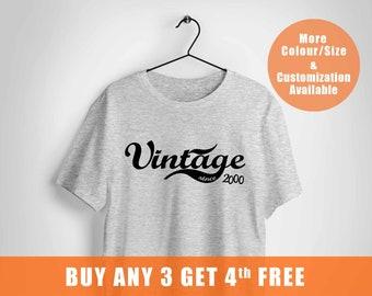 18 birthday tshirt, birthday gift, 2000 year, vintage since year,,
