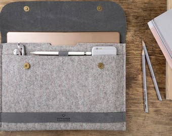 iPad Pro 12,9 leather felt case with apple pencil holder fits with smart keyboard Tablet case iPad 12,9 leather sleeve