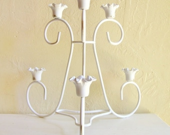 SALE Large Shabby Chic White with Gold Candelabra Centerpiece 6 Candles