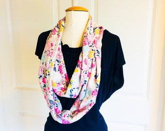 Floral Infinity Scarf - just the ladies scarf- Matching Outfits -  Mother Daughter Matching Outfits- Infinity Scarf - Mommy and Me - Easter