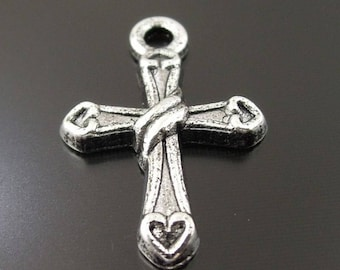 10 hearts and string cross charms in antique silver