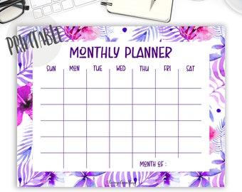 Monthly Calendar Undated Calendar Half Size Calendar Blank