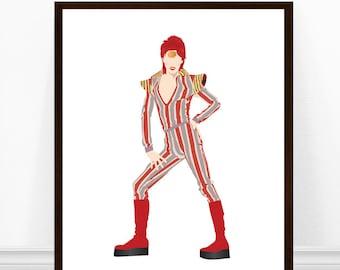 David Bowie Art Print, David Bowie Illustration, Ziggy Stardust, Minimalist Print, David Bowie Print, Striped Bodysuit, Striped Suit