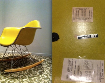 EAMES YELLOW MONOCHROME chartreuse green Alexander Girard naugahyde fiberglass Rocking Chair Vintage Herman Miller armshell Rocker very rare