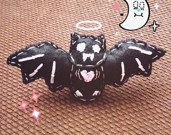 """handmade 4"""" felt bat with a pink beating heart"""