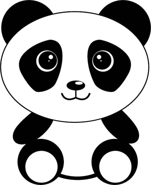 Cute panda svg cut file - Tete de panda dessin ...