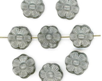 Vintage Gray Flower Beads 14mm Flat Opaque Glass Made in Germany 8 Pcs.