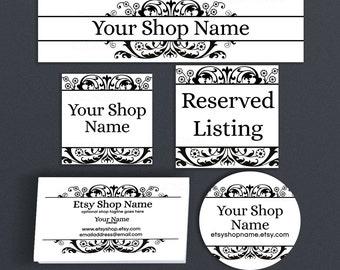 Etsy Shop Branding - Etsy Shop Covers - Branding Package Advance Startup Etsy Cover Bundle - Victorian Etsy Branding Set - Ornate 13IL