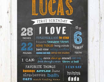 Baby first birthday chalkboard sign - Boy First Birthday Chalkboard poster - Orange Blue Boy Birthday Decoration - DIGITAL FILE!
