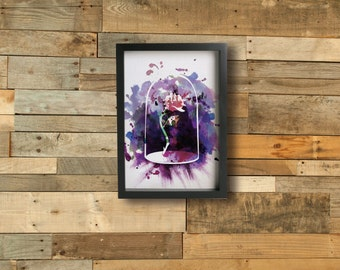 THE ROSE poster - Inspired by the BEAUTY & the Beast disney movie. Watercolor Giclée Print.