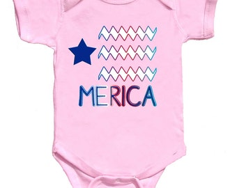 4th of July Baby Girl Bodysuit Merica T-shirt  by Mumsy Goose Newborn Romper to Kids Tees