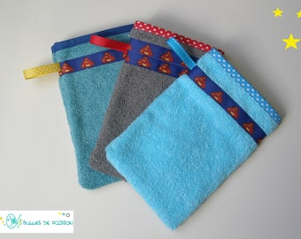 """set of 3 washcloth """"TRIO Super Hero"""" for babies and young children"""