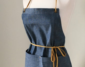 Full Apron Woman Short Mini Apron Blue Chambray  Skinny Leather Straps Rustic Kitchen