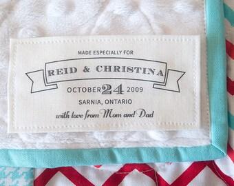 Cotton wedding Label, wedding blanket label, wedding quilt label, handmade label, crochet label, knit label, sewing tag, sewing  label, K10
