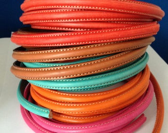 European leather for bracelets - 10x5mm half round leather with stitches along each edge - First quality Spanish leather