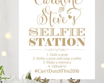 Selfie Station Sign | Various Sizes | Add Your Names | Bella | Antique Gold| I Create and You Print