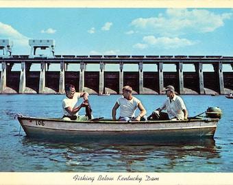 Fishing Below Kentucky Lake Dam Tennessee River Vintage Postcard 1958