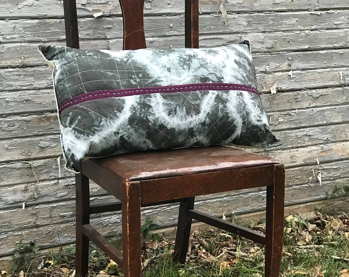 Hand Dyed Tie Dye Throw Pillow Gray and Purple with Embroidery - Great Home Decor Gift Idea