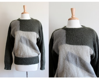 Vintage Christian Dior Green & Grey Colorblock Mohair Sweater