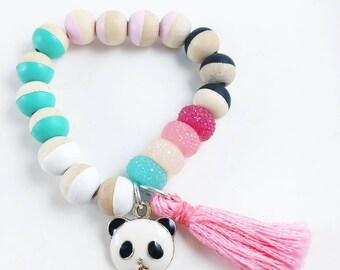 Panda gift Panda Bear Charm Bracelet, Pink, Tassel, Panda Bear, Charm Bracelet, Girls Gift, Panda Party