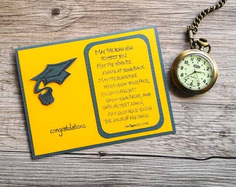 """College Graduation Card with Irish Blessing """"May the Road Rise"""", Green and Yellow, High School Graduation, Congratulation for Graduate"""