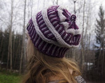 Winter Beanie Hat - Purple Winter Cap - Gifts for Adults - Great Gift Idea - Knitted Hat