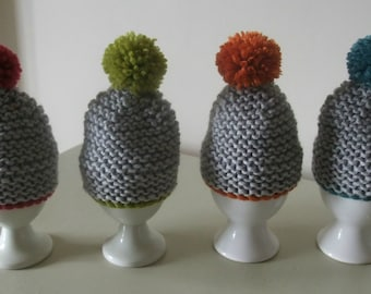 Knitting Pattern for Pom Pom Egg Cosies