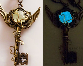 Electric Spark - Glow in the Dark Steampunk Key Necklace