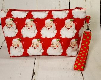 Jolly Santa Clause Knitting Project Bag, Small Zippered Project Bag, Zippered Knitting Bag, Christmas project bag, St. Nick WS0064