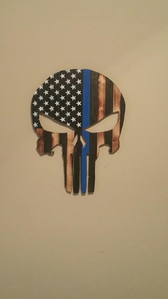 Punisher Thin Blue Line Wood Flag