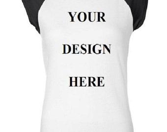 Custom Tee Shirt - Raglan - Womens - Short Sleeve Cotton Tee - Black and White