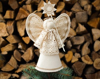 Christmas Tree Topper, White Angel Christmas Ornament, Christmas Decor, Christmas Centerpiece, Christmas Star