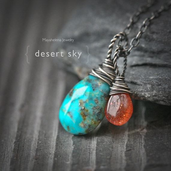 Desert Sky -  Natural Turquoise and Sunstone Sterling Silver Wire Wrapped Necklace