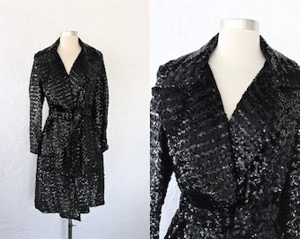 1960s Sequin Coat / Vintage 60s Black Fully Sequined Trench Coat / Formal Opera Coat / Mid Length / Glam Rock / Evening Cocktail - S/M