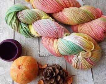 MCN yarn, hand dyed mcn yarn, DK merino cashmere and nylon yarn, DK variegated yarn, pink mcn yarn, green mcn yarn, cashmere yarn, knitting