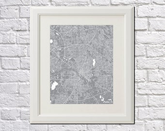 Dallas Street Map Print Map of Dallas City Street Map Poster Texas Wall Art 7077P