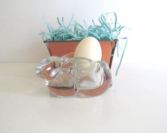 Clear Glass Bunny Rabbit Votive Holder Candle Holder Easter 1970's Indiana Glass